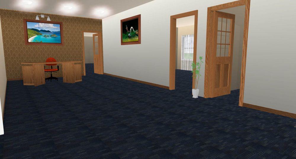Thảm văn phòng màu xanh LH9