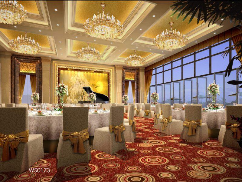 Thảm Khách Sạn Hoa Tròn Màu Đỏ WL-0173