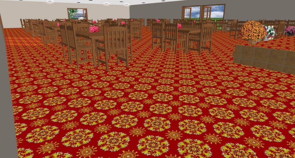 Thảm khách sạn hoa đỏ 1621